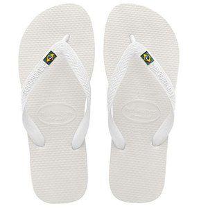 Havaianas Brazil Logo Flip Flop Sandals 9/10 White